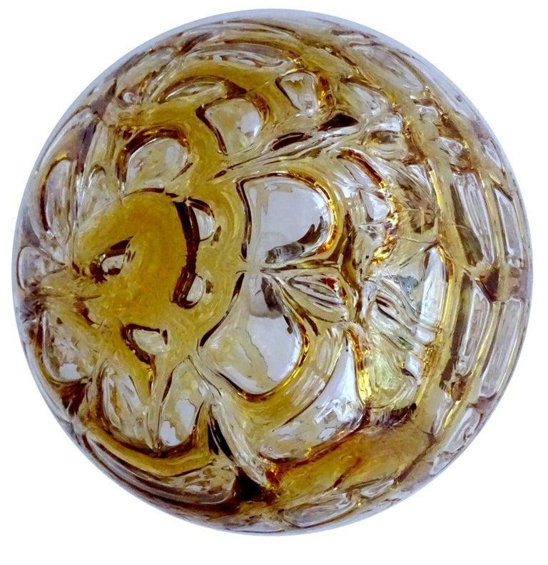 Large Midcentury Doria Murano Honeydrip Glass Globe Brass Pendant Chandelier For Sale 5