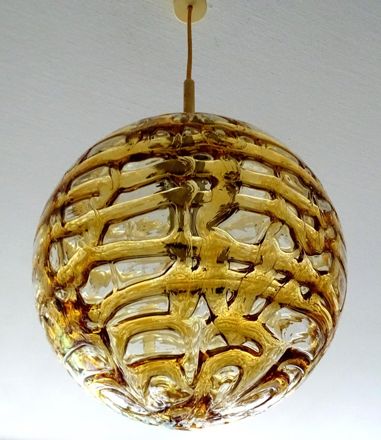 Mid-Century Modern Large Midcentury Doria Murano Honeydrip Glass Globe Brass Pendant Chandelier For Sale