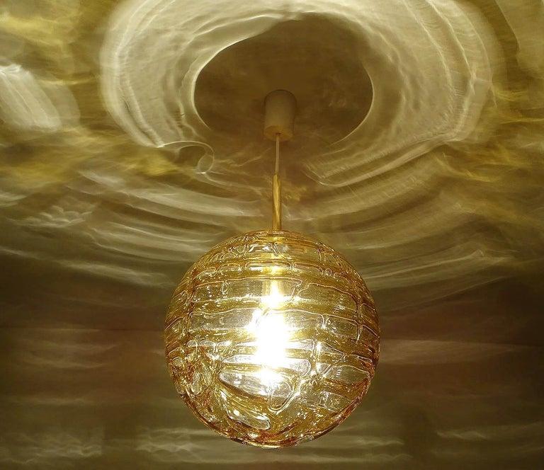 German Large Midcentury Doria Murano Honeydrip Glass Globe Brass Pendant Chandelier For Sale