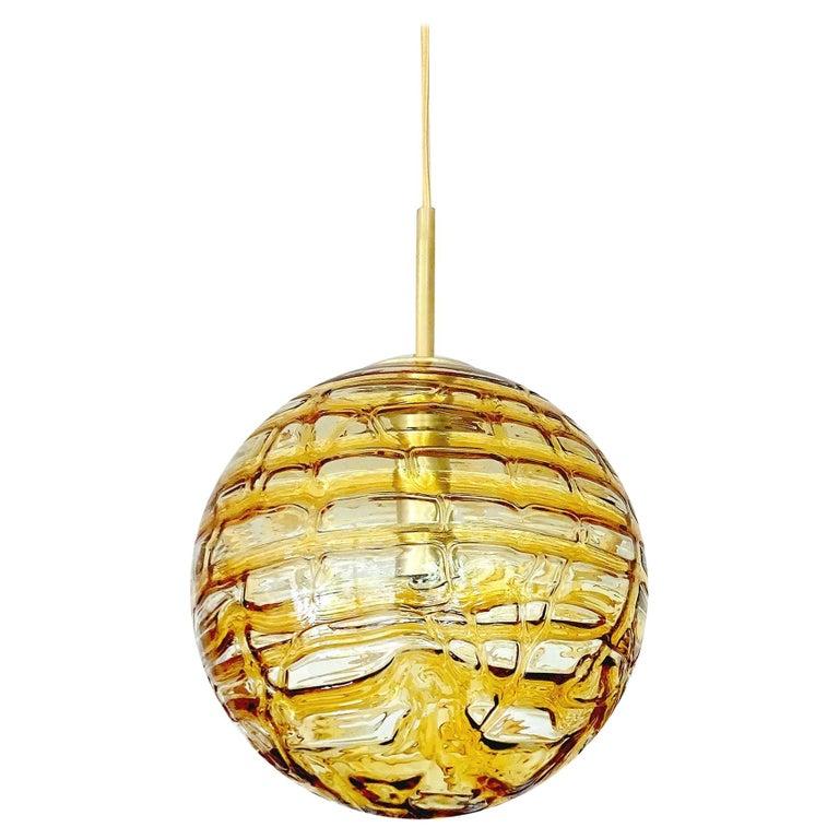 Large Midcentury Doria Murano Honeydrip Glass Globe Brass Pendant Chandelier For Sale