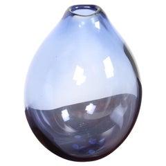 Large Midcentury Drop Vase in Blue Glass by Per Lütken, 1950s