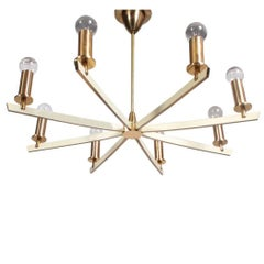 Large Midcentury Eight-Arm Brass and White Chandelier