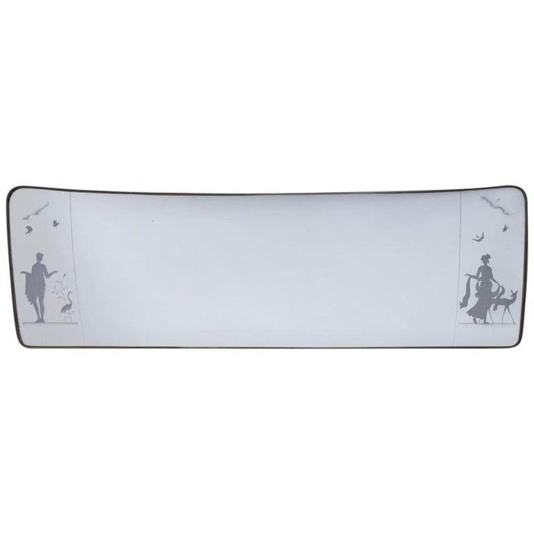 Large Midcentury Etched Italian Brass Mirror For Sale
