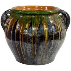 Large Midcentury European Drip Glaze Black Ceramic Garden Pot