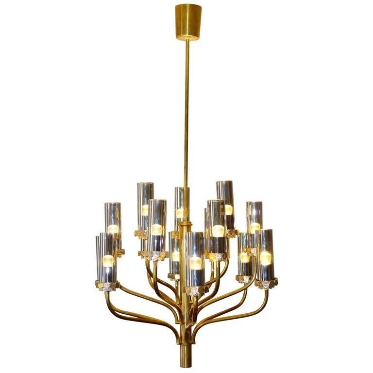 Large Midcentury Fif Light Br And Smoked Gl Chandelier