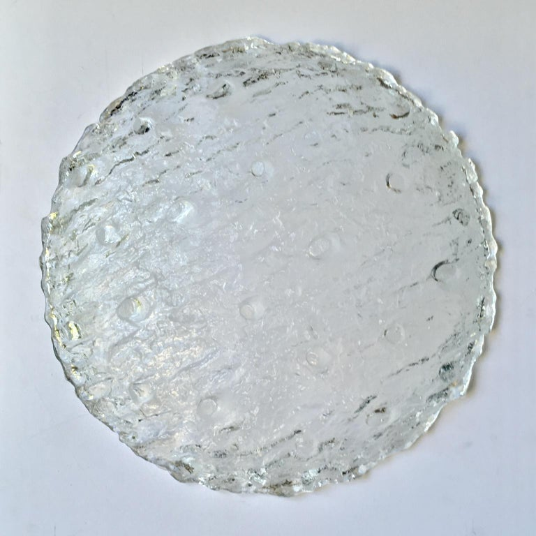 20th Century Large Midcentury Flush Mount in Heavily Textured Glass by Kaiser Leuchten For Sale