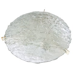 Large Midcentury Flushmount in Heavily Textured Clear Glass by Kaiser Leuchten
