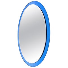 Large Midcentury Fontana Arte Labeled Blue Edged Oval Wall Mirror, 1960s, Italy