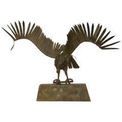 Large Midcentury French Handmade Wrought Iron Eagle Sculpture