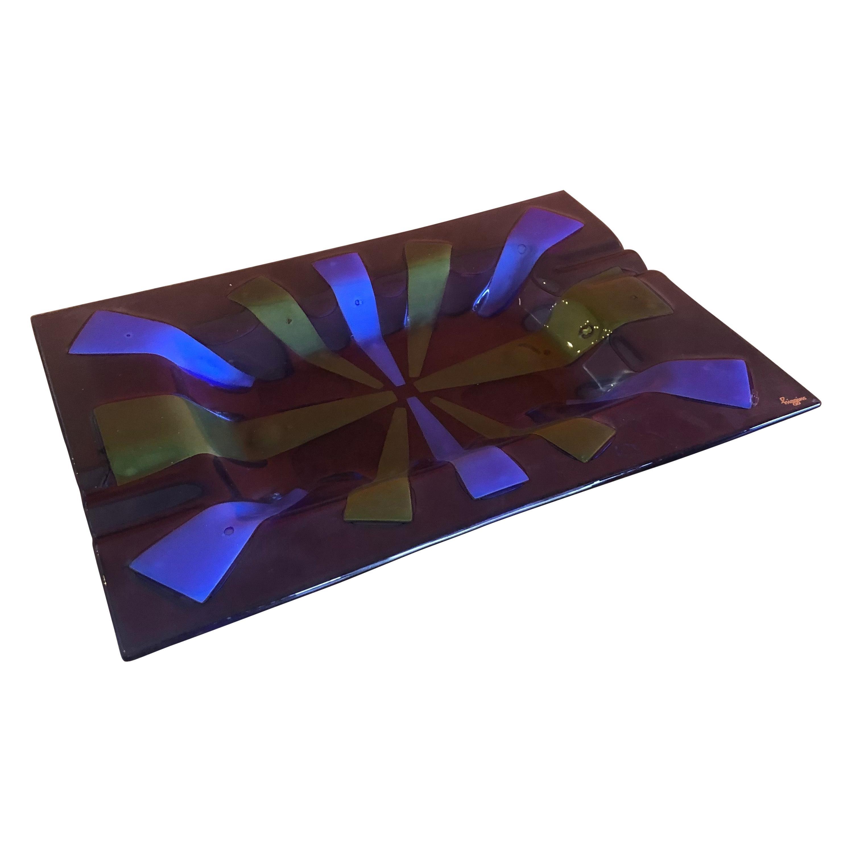 Large Midcentury Fused Art Glass Ashtray by Higgins