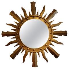 Large Midcentury Gilbert Poillerat Style Italian Gilt Iron Sunburst Mirror