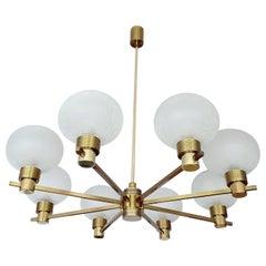 Large MidCentury Glass Brass Sputnik Chandelier Pendant, Stilnovo Gio Ponti Era