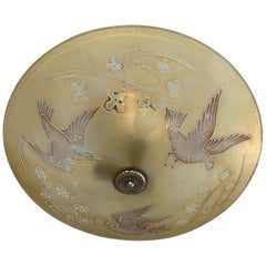Large Mid Century Glass Flush Mount / Pendant Light with Flying Birds in Relief