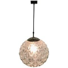 Large Midcentury Glass Globe Pendant by Limburg, Germany, circa 1960s