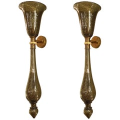 Large Midcentury Gray w/Gold Flakes Murano Glass Sconces Attr Venini Italy 1960