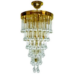 Large Midcentury Hollywood Regency Crystal Waterfall Weddingcake Gilt Chandelier