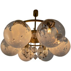 Large Midcentury Hotel Chandelier, in Brass and Decorated Art Glass