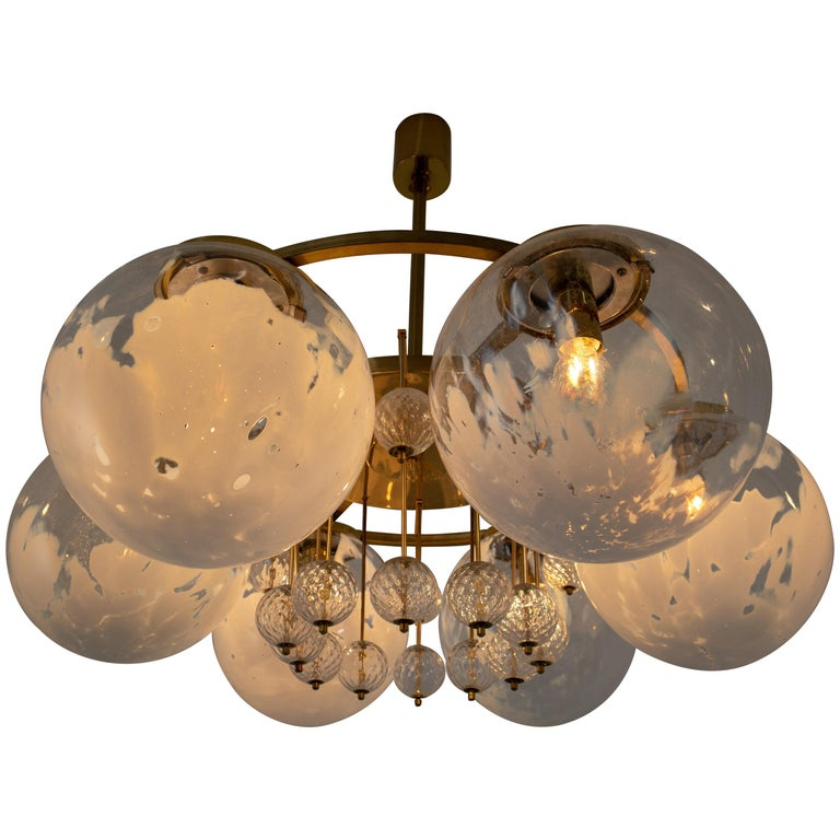 Large Midcentury Hotel Chandelier, in Brass and Decorated Art Glass For Sale