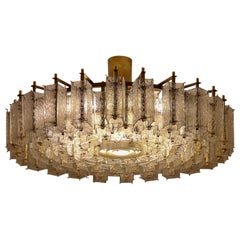 Large Midcentury Hotel Chandelier in Structured Glass and Brass from Europe 1960