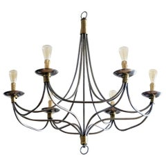 Large Midcentury Italian Brushed Chrome and Brass Six-Light Chandelier