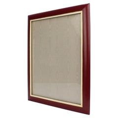Large Midcentury Italian Burgundy Leather Easel Back Photo or Picture Frame