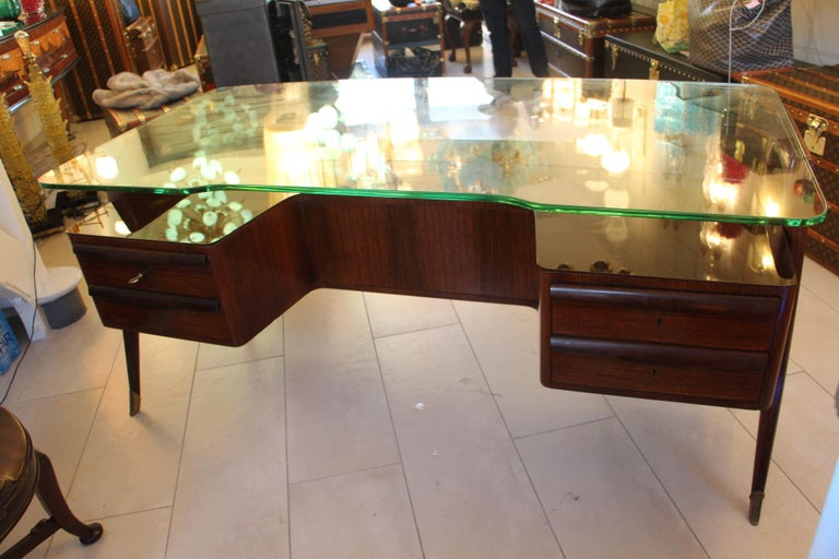 Large Midcentury Italian Executive Desk by Vittorio Dassi For Sale 7