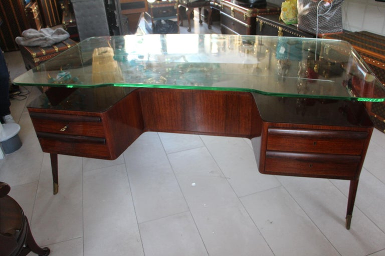 Large Midcentury Italian Executive Desk by Vittorio Dassi For Sale 8