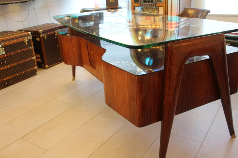 Brass Large Midcentury Italian Executive Desk by Vittorio Dassi For Sale