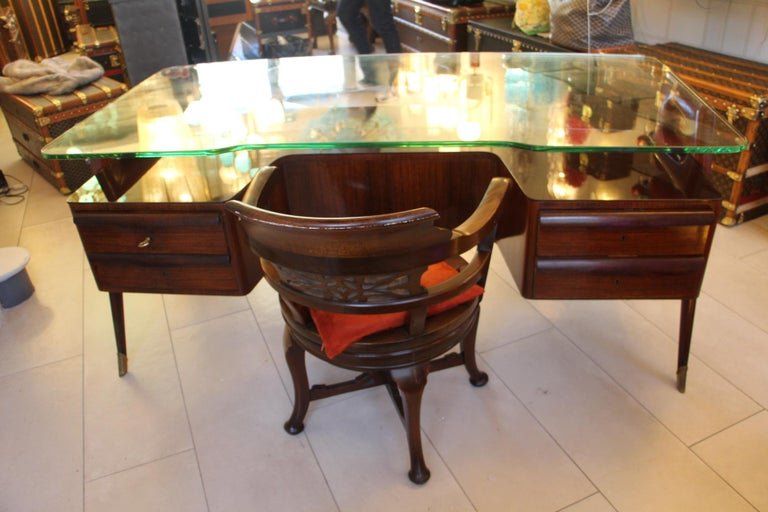 Large Midcentury Italian Executive Desk by Vittorio Dassi For Sale 3
