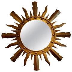 Large Midcentury Italian Gilt Iron Sunburst Mirror-Gilbert Poillerat Style