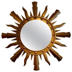 Large Midcentury Italian Gilt Iron Sunburst Mirror, Gilbert Poillerat Style