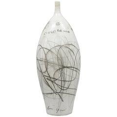 Large Midcentury Italian Modern Glazed Ceramic Vase Vessel by Zabcos A