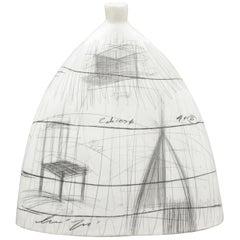 Large Midcentury Italian Modern Glazed Ceramic Vase Vessel by Zabcos B