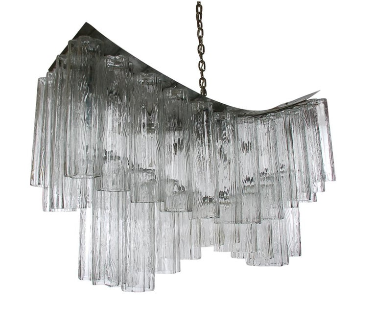 Mid-Century Modern Large Midcentury Italian Modern Murano Tronchi Glass Chandelier Whale Tail Form For Sale