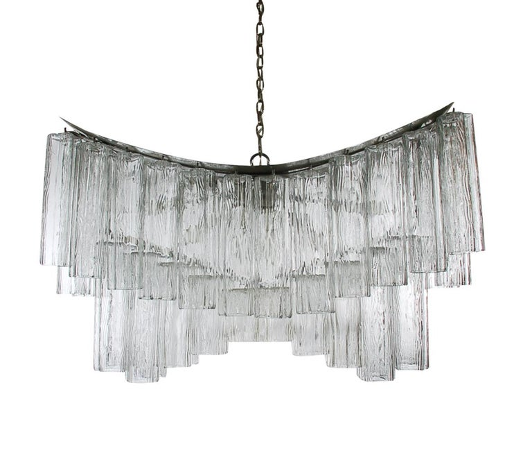 Mid-20th Century Large Midcentury Italian Modern Murano Tronchi Glass Chandelier Whale Tail Form For Sale