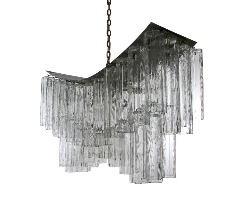 Steel Large Midcentury Italian Modern Murano Tronchi Glass Chandelier Whale Tail Form For Sale