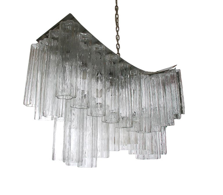 Large Midcentury Italian Modern Murano Tronchi Glass Chandelier Whale Tail Form For Sale 2