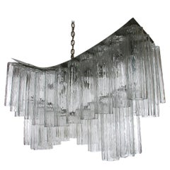 Large Midcentury Italian Modern Murano Tronchi Glass Chandelier Whale Tail Form