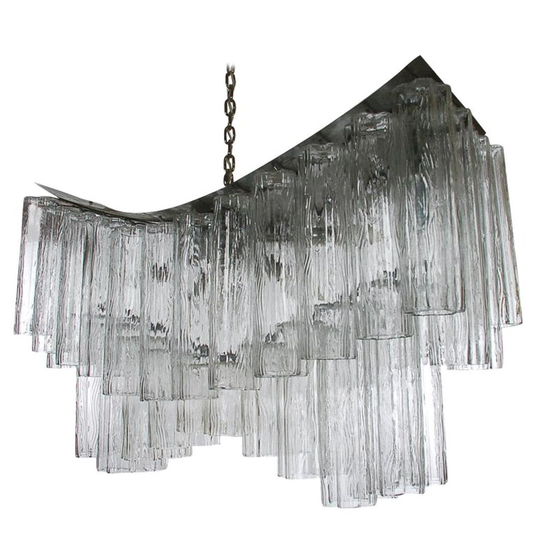 Large Midcentury Italian Modern Murano Tronchi Glass Chandelier Whale Tail Form For Sale