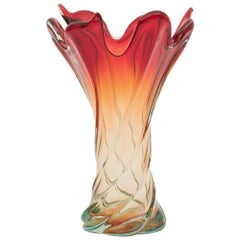 Large Midcentury Italian Murano Glass Vase circa 1960 Blue Amber to Flame Red