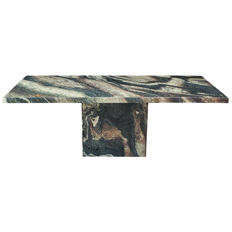 Large Midcentury Italian Postmodern Marble Granite Rectangular Dining Table For Sale