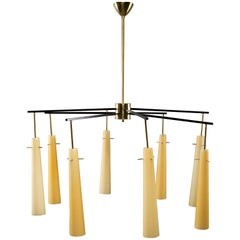 Large Midcentury Italian Stilnovo Style Eight-Light Fixture