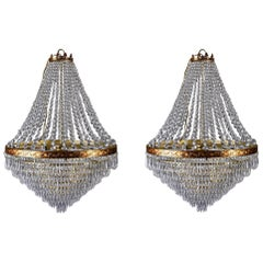 Large Midcentury Italian Wedding Cake Style Brass and Crystal Chandeliers, Pair