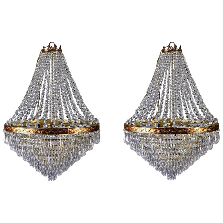 Large Midcentury Italian Wedding Cake Style Brass and Crystal Chandeliers, Pair For Sale