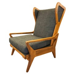 Large Midcentury Lounge Chair with Walnut Frame