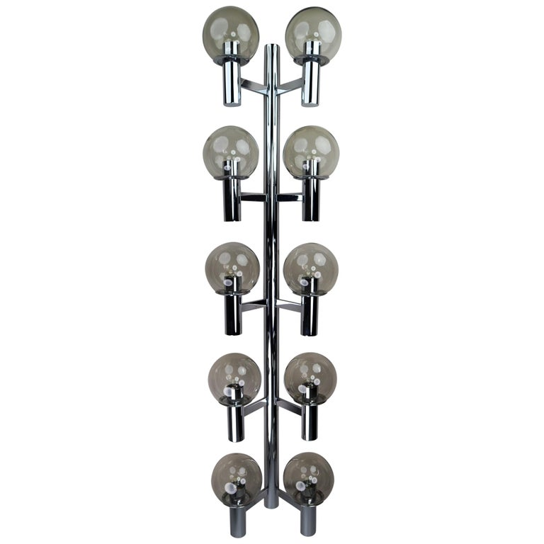 Large Mid-Century Modern Chrome Wall lights / Sculptures, Italy, 1970s For Sale