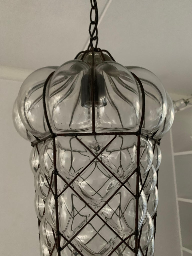 Mid-Century Modern Mouth Blown Glass in Metal Frame Pendant / Light Fixture For Sale 5