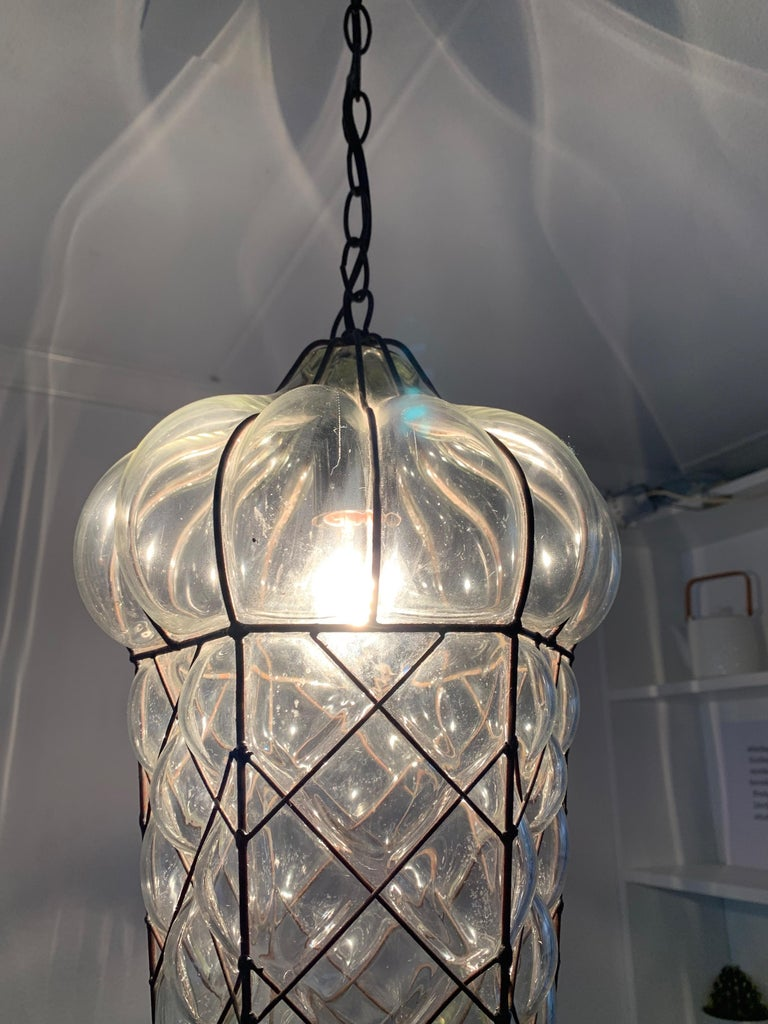 Mid-Century Modern Mouth Blown Glass in Metal Frame Pendant / Light Fixture For Sale 7