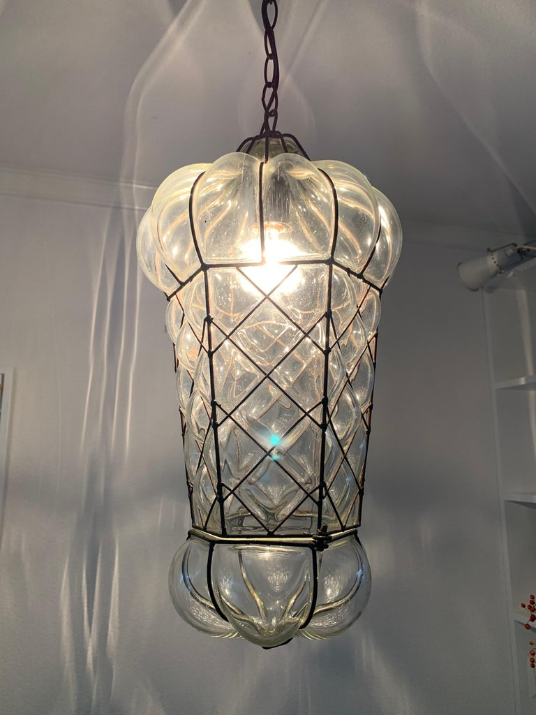 Mid-Century Modern Mouth Blown Glass in Metal Frame Pendant / Light Fixture For Sale 8