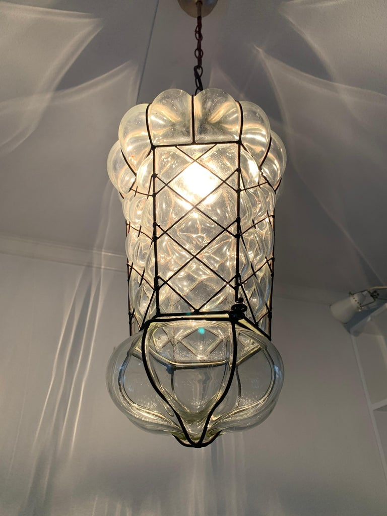 Mid-Century Modern Mouth Blown Glass in Metal Frame Pendant / Light Fixture For Sale 9